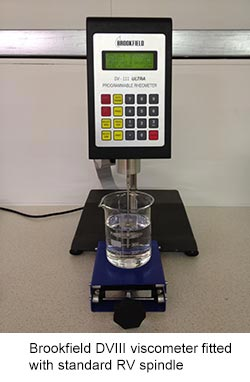 Brookfield DVIII viscometer fitted with standard RV spindle